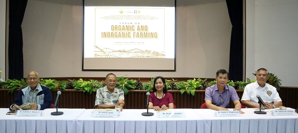 The speakers during the forum (l-r): Dr. Eufemio T. Rasco, Jr., CAMP member; Dr. Emil Q. Javier, National Scientist and Chair of the CAMP Board of Trustees; Dr. Pearl B. Sanchez, Director, Agricultural Systems Institute, UPLB College of Agriculture and Food Science; Dr. Rodel G. Maghirang, Director, UPLB Institute of Plant Breeding; and Mr. Pablito M. Villegas, owner and entrepreneur, Villegas OrganiKs and Hobby Farm.
