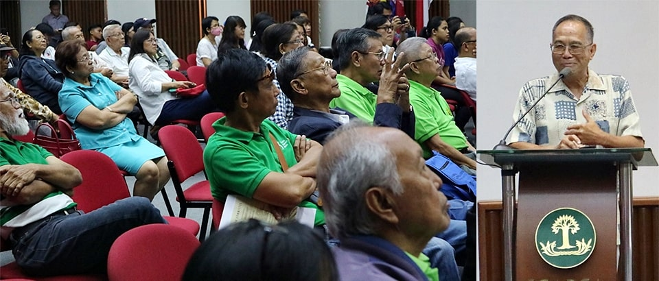 The participants intently listen to Dr. Javier's presentation on mainstreaming organic practices in conventional agriculture.