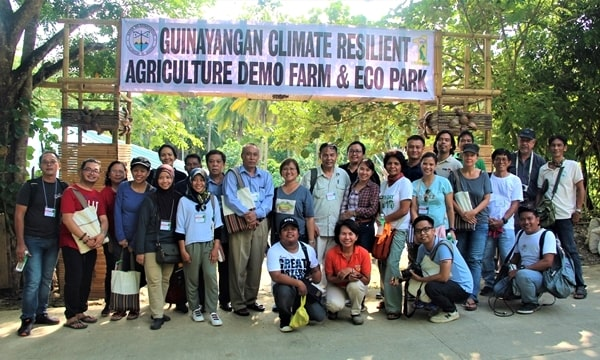 Participants at the Guinayangan Climate Resilient Agriculture Demo Farm and Eco Park during the final leg of the field visits to the Guinayangan CSV.